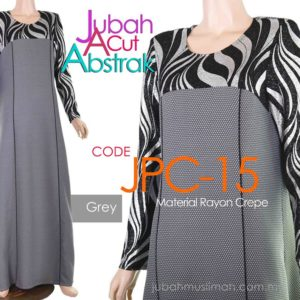 JPC15 Jubah A-Cut Abstrak Elegant Grey