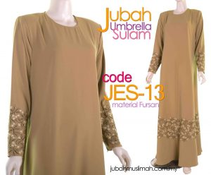 JES13 Jubah Umbrella (Princess Cut) Sulam Elegant Mustard