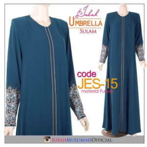 JES15 Jubah Princess Cut (Umbrella) Lace Elegant Blue