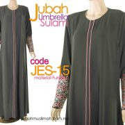JES15 Jubah Princess Cut (Umbrella) Lace Elegant Grey