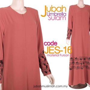 JES16 Jubah Umbrella Sulam Elegant Persian Brown