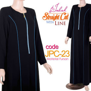 JPC23 Jubah Straight Cut Line Black-Blue