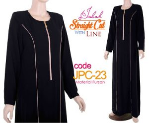 JPC23 Jubah Straight Cut Line Black-Brown