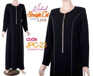 JPC23 Jubah Straight Cut Line Black-Grey