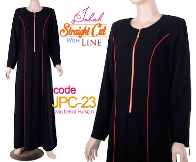 JPC23 Jubah Straight Cut Line Black-Red