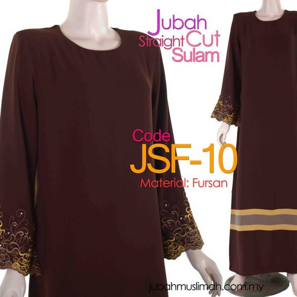 JSF10 Jubah Straight Cut Sulam Brown