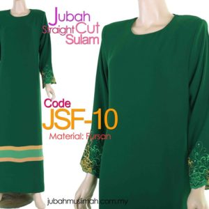 JSF10 Jubah Straight Cut Sulam Green