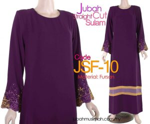 JSF10 Jubah Straight Cut Sulam Purple