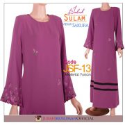 JSF13 Jubah Sulam (Straight Cut) Mekar Sakura Purple