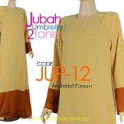 JUP12 Jubah Umbrella Kosong 2 Tone Cream